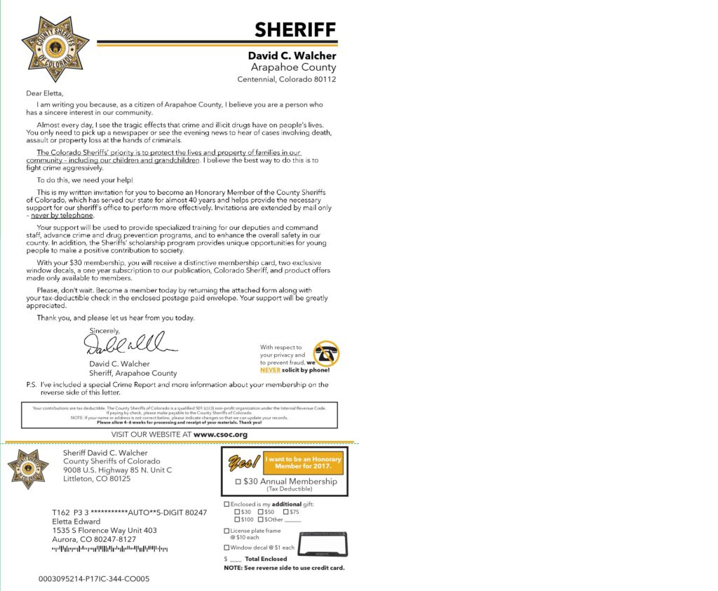 Letter from sheriff