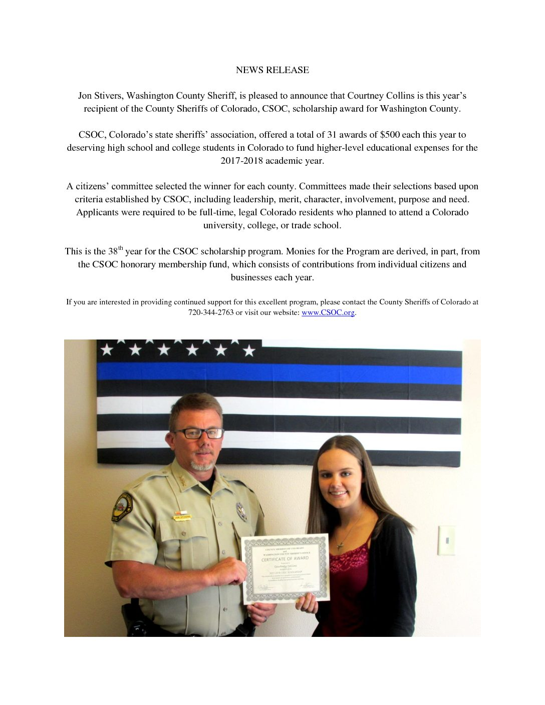 Scholarship news release